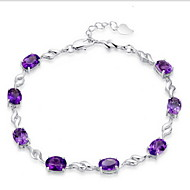 Women's Silver Chain With Rhinestone purple Bracelet