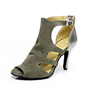 Non Customizable Women's Dance Shoes Suede Suede Latin / Salsa Sandals Stiletto Heel Indoor Gray