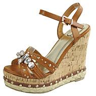 Women's Shoes Wedge Heels Peep Toe Platform Slingback Open Toe Sandals Office & Career/Dress/Casual Brown/White