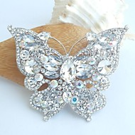 Bridal Accessories Silver-tone Clear Rhinestone Crystal Bridal Brooch Art Deco Butterfly Brooch Bouquet Women Jewelry