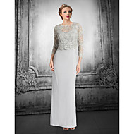 Sheath/Column Petite Mother of the Bride Dress - Silver Floor-length Lace