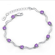 Women's Silver Chain With purple  Rhinestone/Cubic Zirconia Bracelet