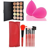 HOT SALE 15 Colors Contour Face Cream Makeup Concealer Palette + 7PCS Purple Makeup Brushes Set Kit + Powder Puff