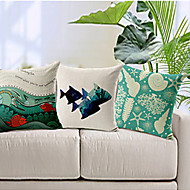 Set of 3 Ocean Theme Cotton/Linen Decorative Pillow Cover
