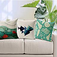 sada 3 oceánu téma bavlna / len dekorativní polštář krytem