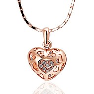 Cut-Out Love Heart Necklace(Silver/Gold)(1Pc)