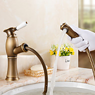 Solid Brass Pull Out Basin Faucet (Antique Brass)