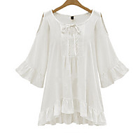 Women's Sexy Casual Cute Plus Sizes Micro Elastic ½ Length Sleeve Regular Shirt (Cotton)
