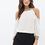 Women's Sexy Casual Cute Plus Sizes Inelastic Long Sleeve Regular Shirt (Sequin/Chiffon)