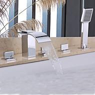 Grifo de ducha / Grifo de bañera - Contemporáneo - Alcachofa incluida / Cascada - Latón (Cromo)