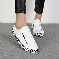 Women's Shoes Canvas Leopard Flat Heel Comfort/Round Toe Flats/Fashion Sneakers Casual Black/White