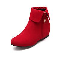 נעלי נשים - מגפיים - פליז - פלטפורמות / מעוגל / מגפי אופנה - שחור / חום / אדום / אפור - שמלה - עקב וודג'