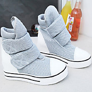 Women's Shoes Canvas Flat Heel Round Toe Fashion Sneakers Outdoor/Casual Black/Gray