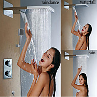 Bathroom Thermostatic Shower Faucet, Stainless Steel 304 Wall Mounted Brushed Waterfall And Rain Shower Head