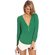 Women's V Neck Long Sleeve Zipper Blouse(More Colors)