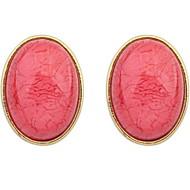 Women's Fine Fashion Simple Sweet Luxury Oval Stud Earrings With Rhinestone