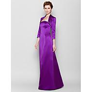 Sheath/Column Mother of the Bride Dress - Grape Floor-length 3/4 Length Sleeve Satin