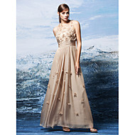 TS Couture Formal Evening Dress - Champagne Plus Sizes / Petite A-line Jewel Floor-length Chiffon