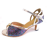 Customized Women's Latin Sandals Customized Heel Dance Shoes with Rhinestone Buckle