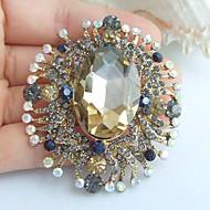 2.36 Inch Gold-tone Multicolor Rhinestone Crystal Flower Brooch Pendant Art Decorations