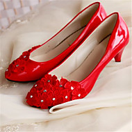 Women's Shoes Leather Low Heel Heels/Round Toe Pumps/Heels Wedding/Party & Evening Red