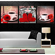 utskrifter plakat kaffekopp rose blomst art bilde hjem dekorative bilder ut på lerret 3pcs / set (uten ramme)
