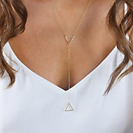 Women's Silver Hollow Metal Double Triangle Short Necklace