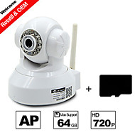 besteye® h.264 câmera ip wifi hd 720p 1.0m pixels PTZ visão ir noite com fio / wireless com cartão sd