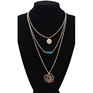 Women's European Style Fashion Multilayer Wild Rose Pendant Alloy Necklace