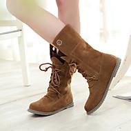 Damenschuhe - Stiefel - Lässig - Kunststoff - Flacher Absatz - Komfort / Rundeschuh / Geschlossene Zehe / Modische Stiefel -Schwarz /