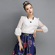 3/4 ærmelængde Rund hals Medium Kvinders Hvid / Sort / Orange Ensfarvet Forår Sødt I-byen-tøj Bluse