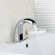 Contemporary Automatic Sensor Bathroom Sink Faucet with Escutcheon Plate - Silver