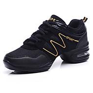 Kadın Dans Sneakerları Tüylü Tül Ayrık Taban Egzersiz Küba Topuk Beyaz Siyah ve Altın Siyah/Kırmızı 5 - 6,2 cm