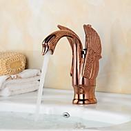 Contemporary Rose Gold Swan Shape Bathroom Basin Faucet (Short)
