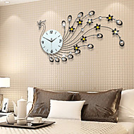 Modern Style Fashion Creative Peacock Diamond with Iron Mute Wall Clock