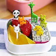 10個入りの動物形の弁当かわいい動物性食品フルーツピックフォークランチボックス付属品の装飾ツール(ランダムカラー)