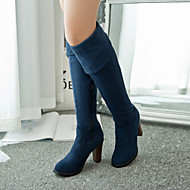 Women's Fall Winter Leatherette Outdoor Office & Career Casual Chunky Heel Black Blue
