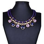 Women's Statement Necklaces Gemstone & Crystal Alloy Fashion Statement Jewelry Black Purple Red Blue JewelryParty Special Occasion