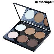 6 väri 2in1 aurinkopuuteri&korostus jauhe kirkas&matta meikki kosmeettinen paletti peili