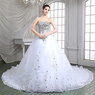 A-line Wedding Dress - Elegant & Luxurious Sparkle & Shine Cathedral Train Sweetheart Organza with Appliques / Sequin / Beading