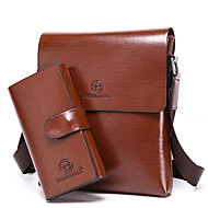 Men Shoulder Bag Cowhide All Seasons Formal Casual Office & Career Outdoor Messenger Magnetic Brown Khaki
