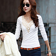 여성의 라운드 넥 긴 소매 티셔츠 면
