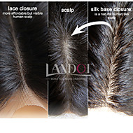 brasileiro encerramento base de seda onda do corpo tamanho 4x4 naturais cabelo humano de seda do laço preto livre meio parte 3 virgem