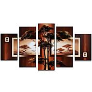 kézzel festett art fali dísz-afrikai fa olaj, vászon 5db / szett (keret nélkül)