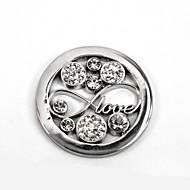 """סגסוגת 33 מ""""מ הדיסק של הילדה מתנת יום ולנטיין מיל Moneda כסף אינסוף גביש לתליון בעל 35mm מטבע"""