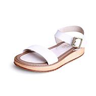 נעלי נשים - סנדלים - עור - נוחות / רצועה אחורית / פתוח - שחור / לבן - שמלה / קז'ואל - עקב שטוח