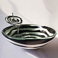 The Black and White Spiral Round Tempered Glass Vessel Sink with Waterfall Faucet ,Pop - Up Drain and Mounting Ring