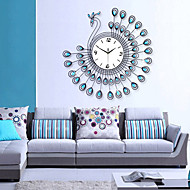 Exquisite Modern Peacock Design Wall Clock - Blue+Black