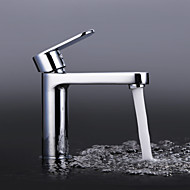 Contemporary Chrome Finish Brass One Hole Single Handle Bathroom Sink Faucet