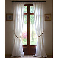 Two Panels 100% Linen White Solid Linen Panel Curtains Drapes